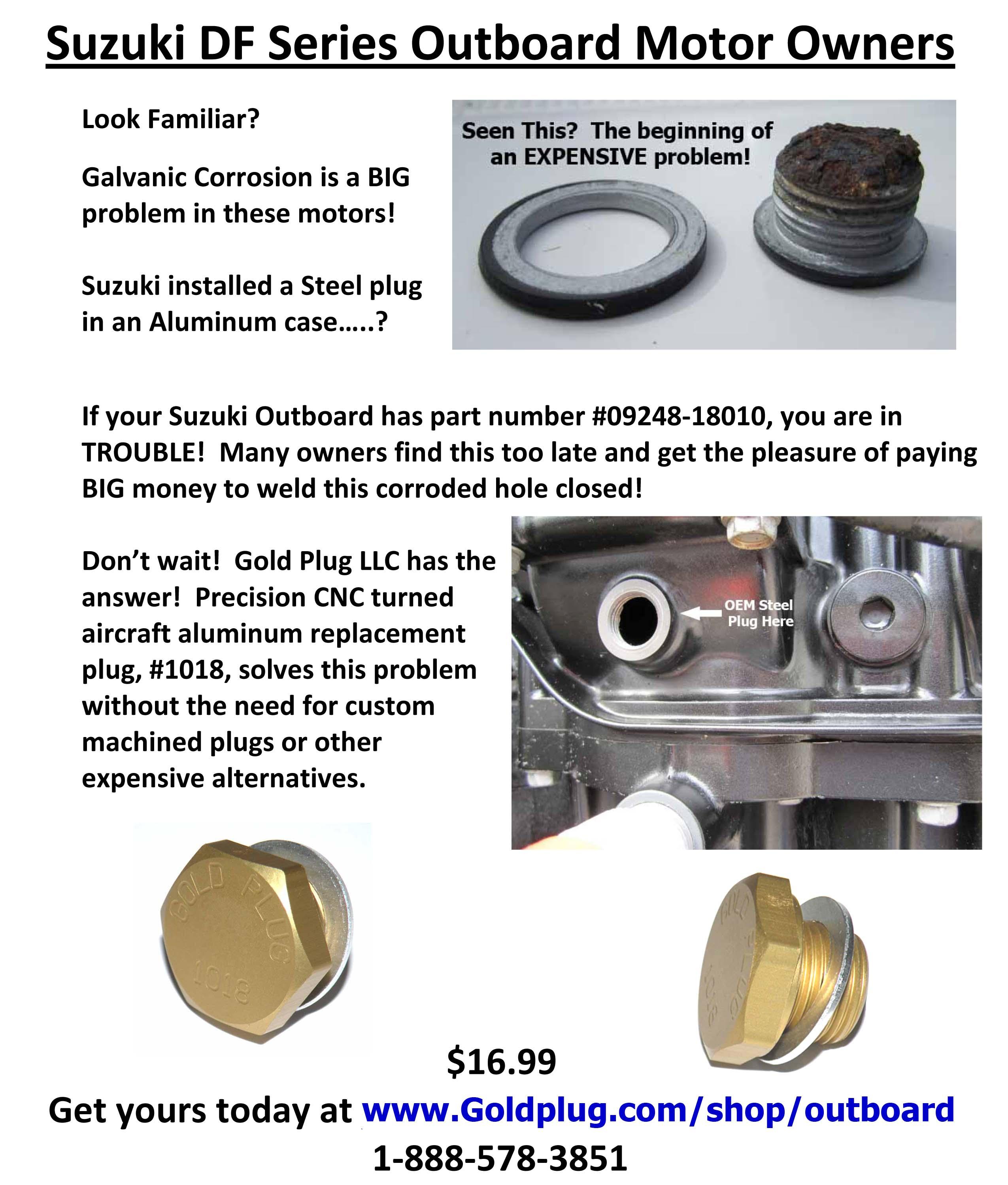 Suzuki outboard exhaust plug aluminum gold plug llc for Suzuki outboard motor repair shops
