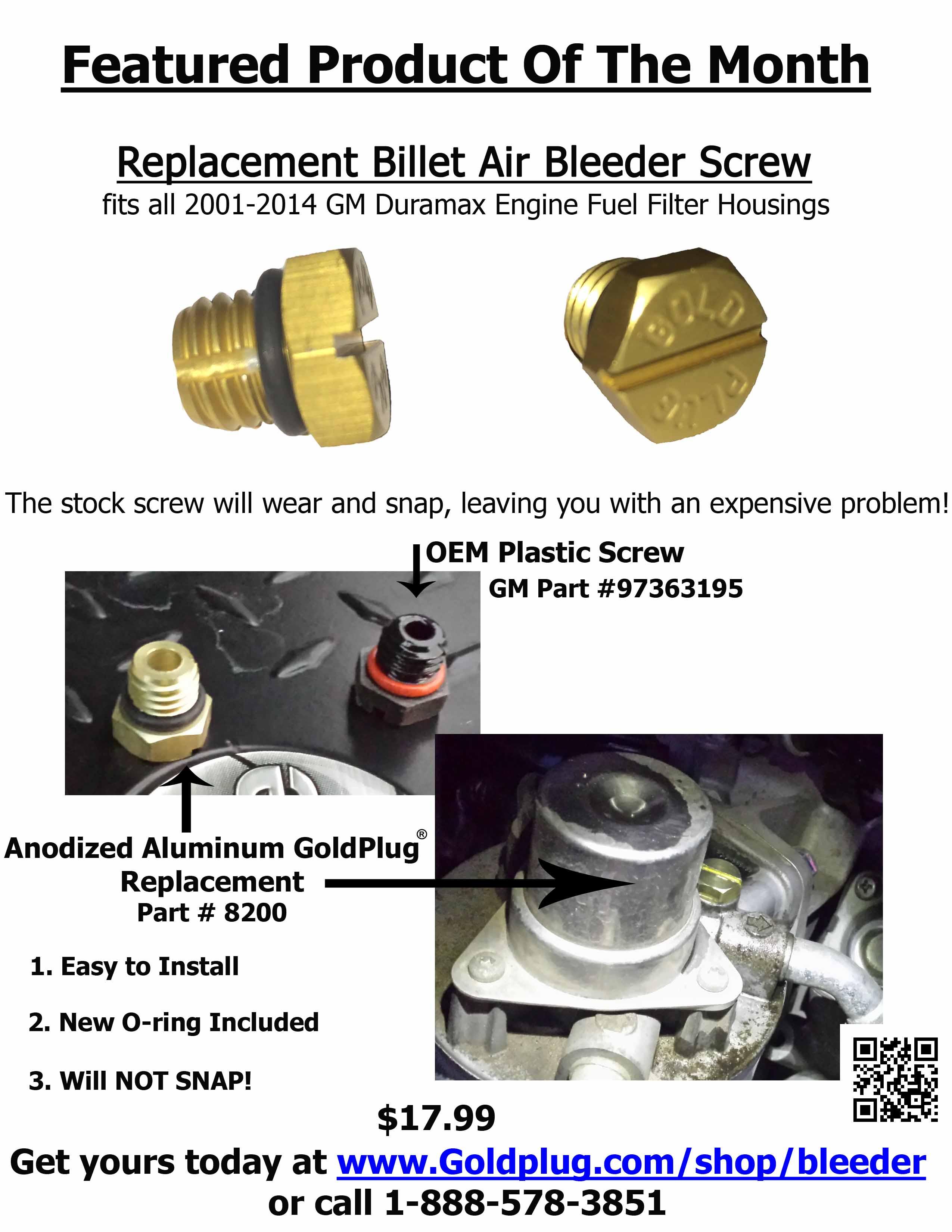 Duramax Diesel Fuel Bleeder Screw. Duramax Fuel Filter Replacement ...
