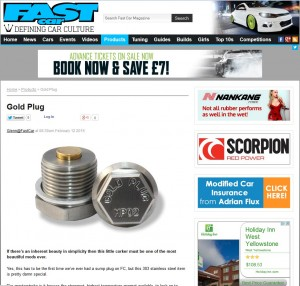 GoldPlug write-up in Fast Car Magazine